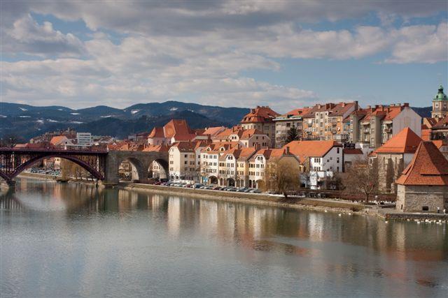 Maribor in Slovenia with river Drava