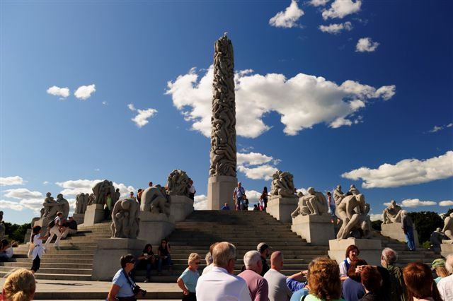 People visiting The Monolith, Vigeland Sculpture Arrangement, Frogner Park, Oslo, Norway