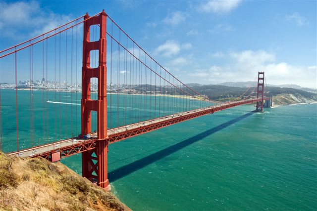 The Golden Bridge in San Francisco with beautiful azure ocean in background