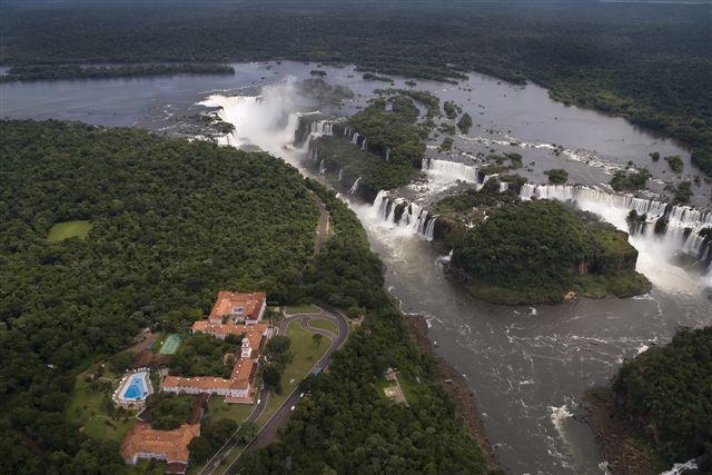 Aerial view toward Brazil's side of Iguazu Falls