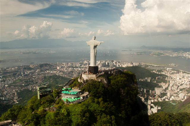 Aerial view of Christ the Redeemer in Rio de Janeiro