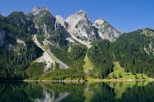 Mountains bordering the Gosausee lake in the Salzkammergut region, Austria.
