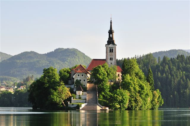 Bled lake with the church on island, Slovenia, Europe