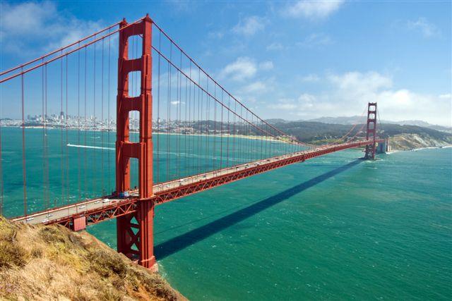 The Golden Bridge in San Francisco with beautiful azure ocean in background
